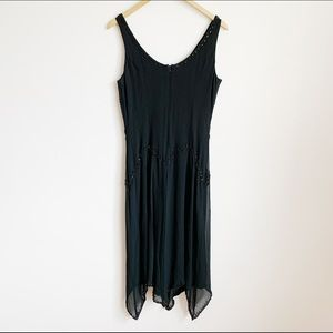 90s black silk sequinned flapper style dress